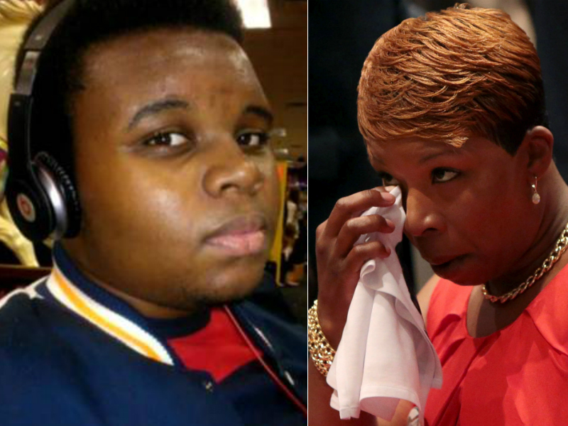 At left, Michael Brown, who was shot dead by a police officer in Ferguson, Mo. At right, his mother Lezley McSpadden, who has announced she's running for Ferguson city council.