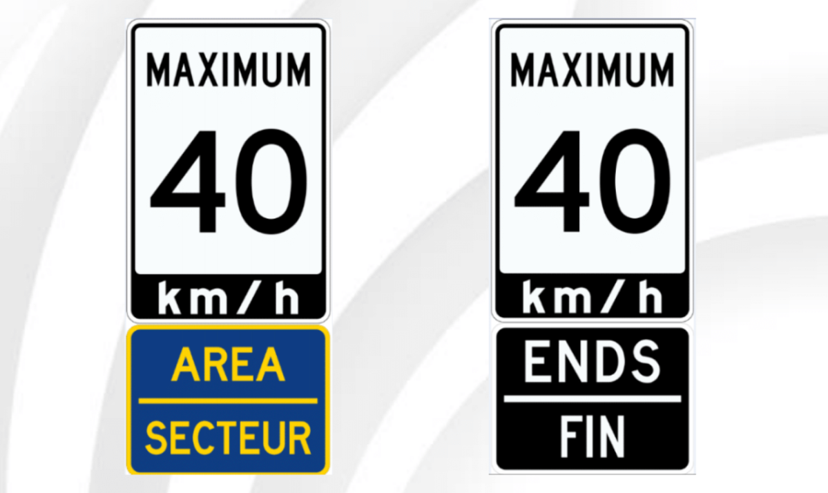"Ottawa is the only city to set area speed limits in two zones. These ""gateway"" signs are installed at the entrances and exits of certain residential areas in Ottawa where the city deems a consistent speed limit of 40 km/h is more appropriate than the default 50 km/h."
