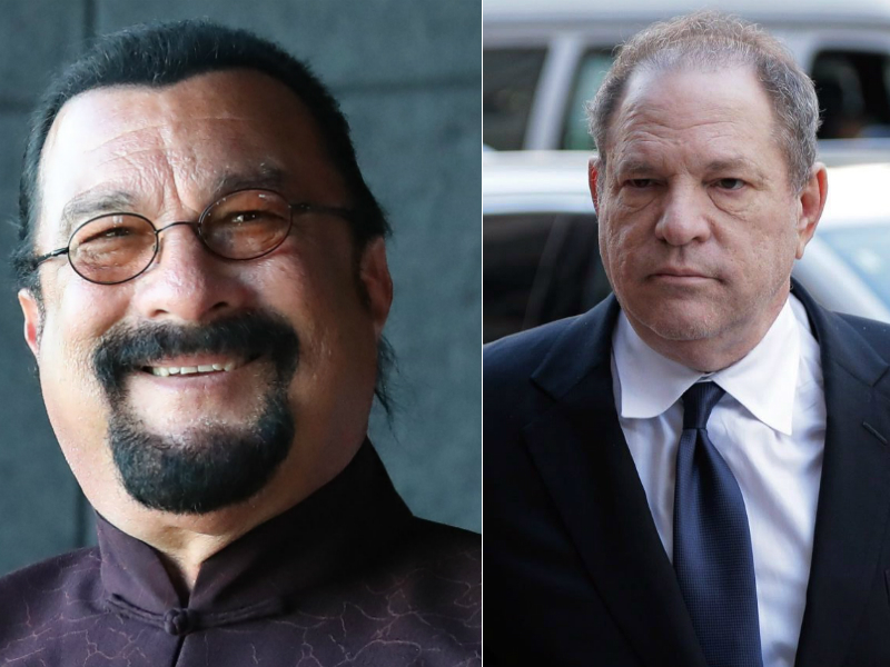 At left, Steven Seagal. At right, Harvey Weinstein.