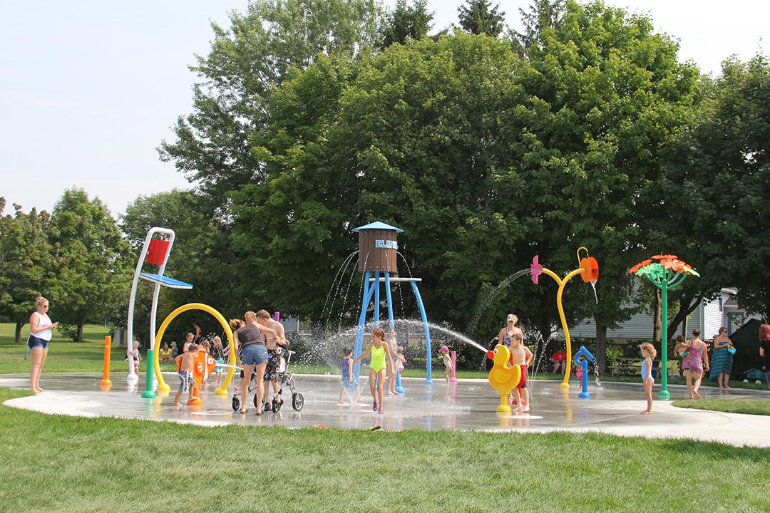 The Homer Barrett Park Splash Pad is located at 43 Centennial Avenue in Elmvale.