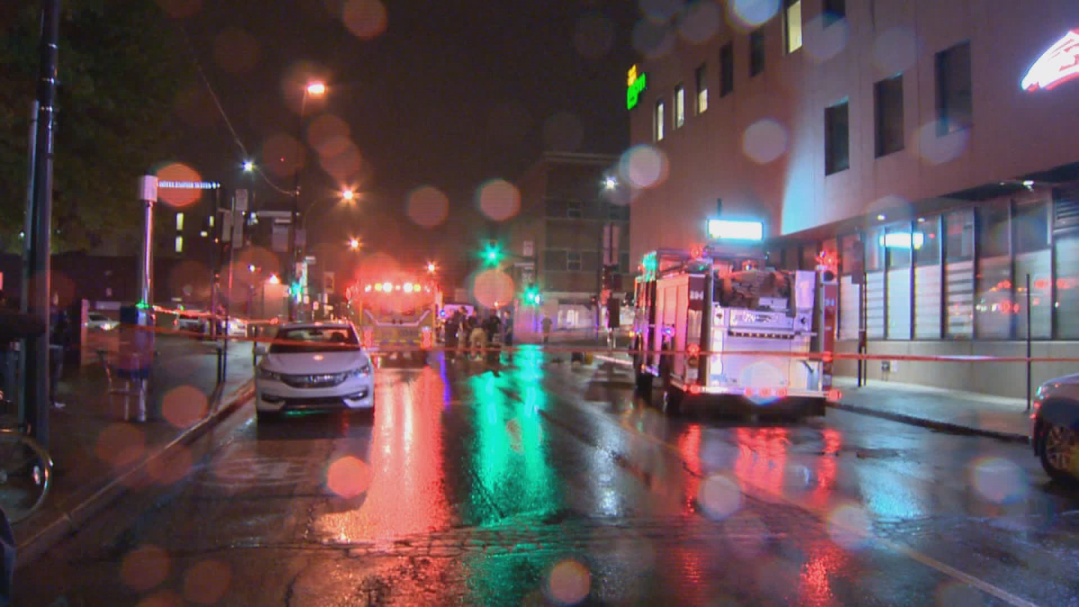 One man is in critical condition after a stabbing in Place Emilie-Gamelin. 9 Aug 2018.