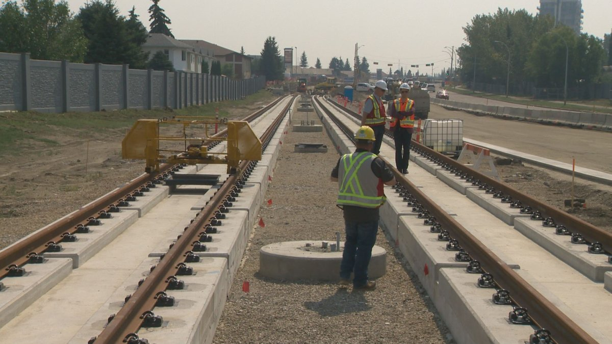 The first section of rail for the line was installed in Mill Woods on 66 Street just south of 34 Avenue Thursday, Aug. 9, 2018.
