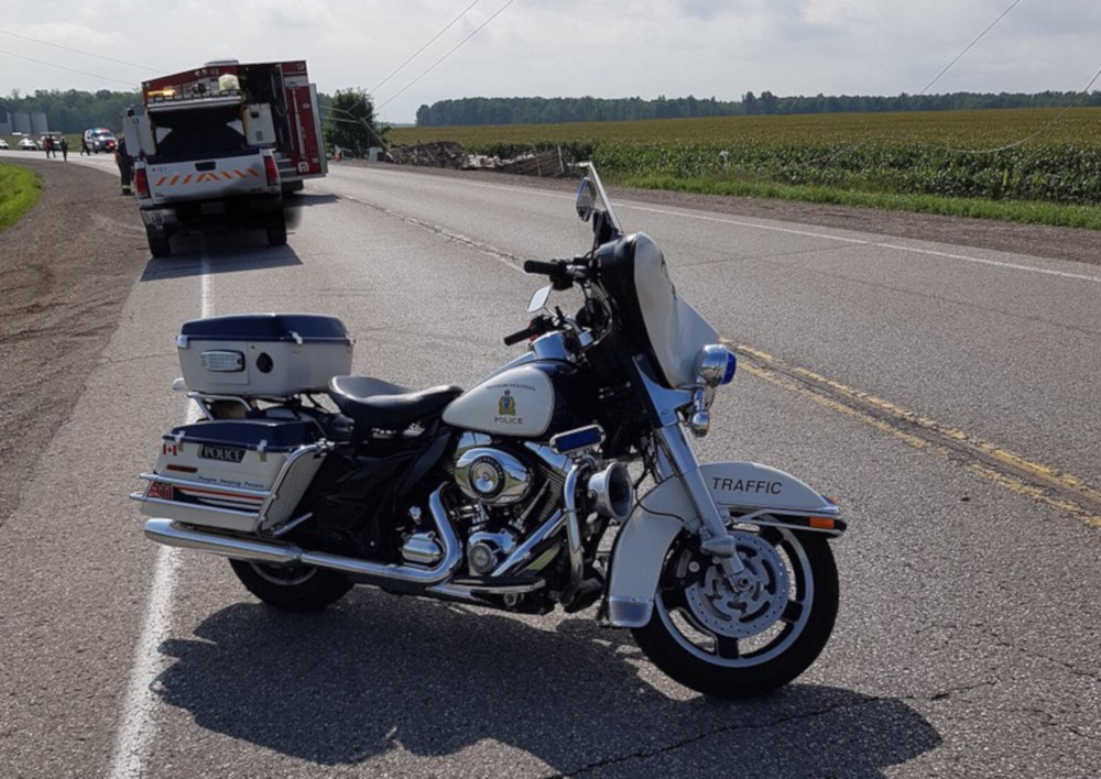 A Waterloo police bike parked on the road near the scene of Tuesday's accident.