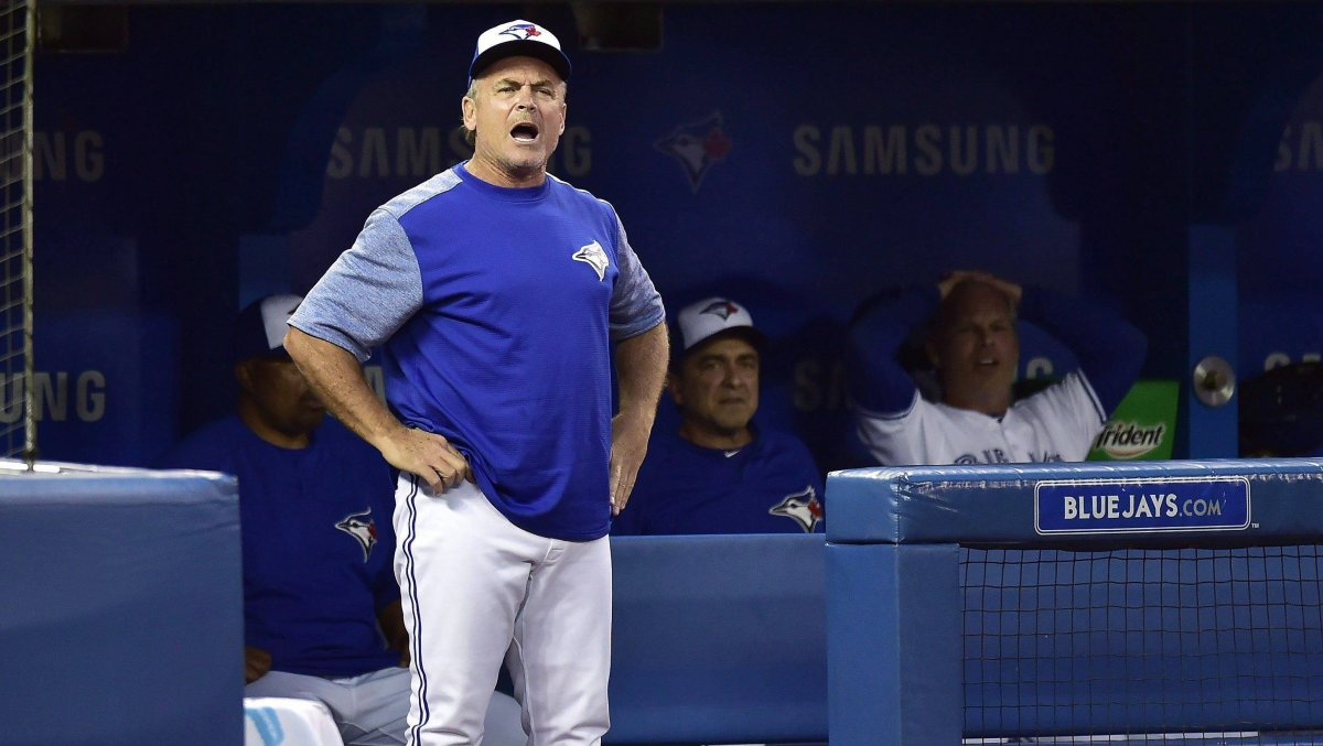 Toronto Blue Jays manager John Gibbons yells at the home plate umpire after a late 3rd strike call caused Kenrys Morales, not shown, to get caught out during sixth inning MLB baseball action against the Baltimore Orioles, in Toronto on Friday, July 20, 2018.