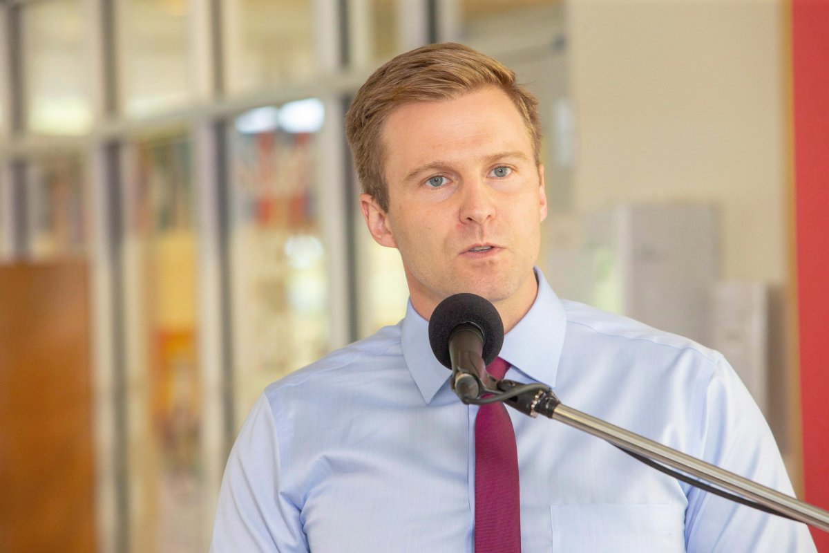New Brunswick Liberal Leader Brian Gallant speaks at a campaign stop in Fredericton on Wednesday, Sept. 5, 2018.