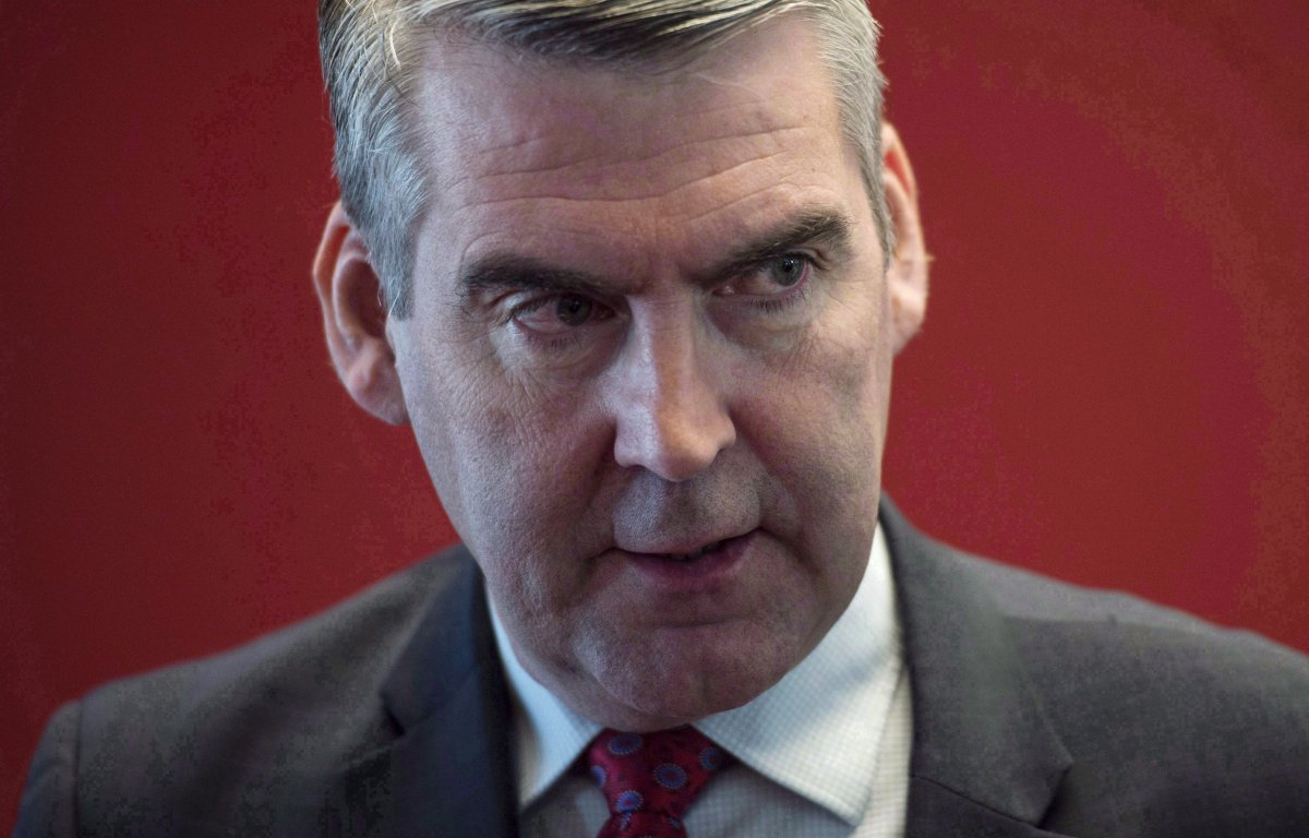 Nova Scotia Premier Stephen McNeil arrives for a press conference in Halifax on Tuesday, April 10, 2018.