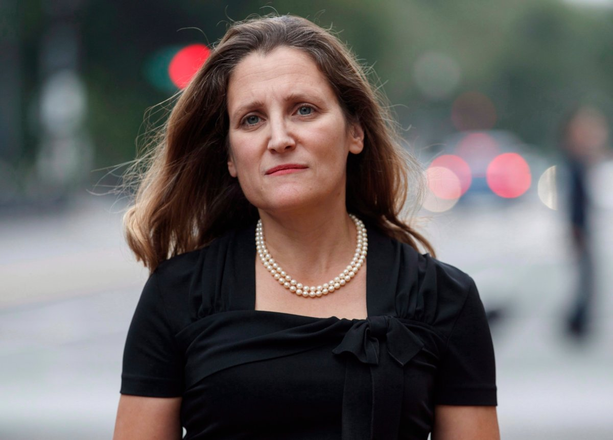 Canadian Foreign Affairs Minister Chrystia Freeland arrives at the Office of the United States Trade Representative on Tuesday, Sept. 11, 2018, in Washington, D.C.