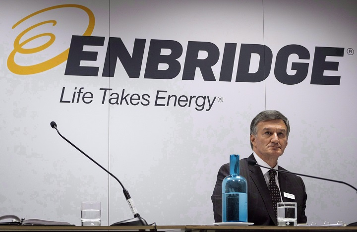 Enbridge president and CEO Al Monaco waits to address the company's annual meeting in Calgary, Wednesday, May 9, 2018.