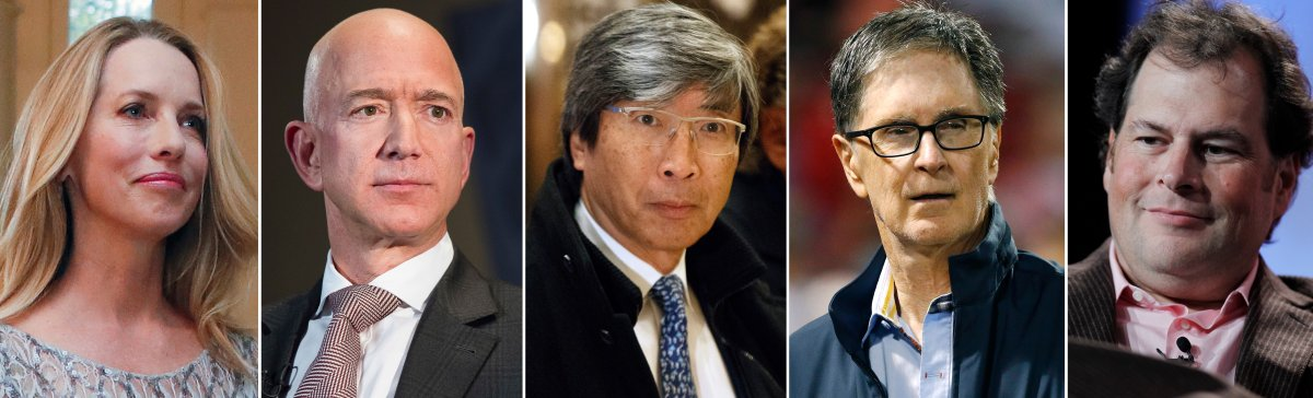 This Friday, Sept. 21, 2018, combination of file photos shows from left, Laurene Powell Jobs, who has a majority stake in The Atlantic, Jeff Bezos, who bought The Washington Post in 2013, Patrick Soon-Shiong, who bought The Los Angeles Times in 2018, John Henry, who bought the Boston Globe in 2013, and Marc Benioff, who bought Time Magazine.