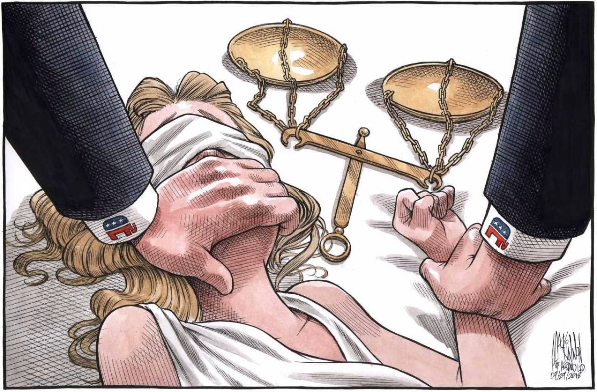 A powerful political cartoon depicting the assault of Lady Justice has gone viral in the wake of recent allegations against Supreme Court nominee Brett Kavanaugh.