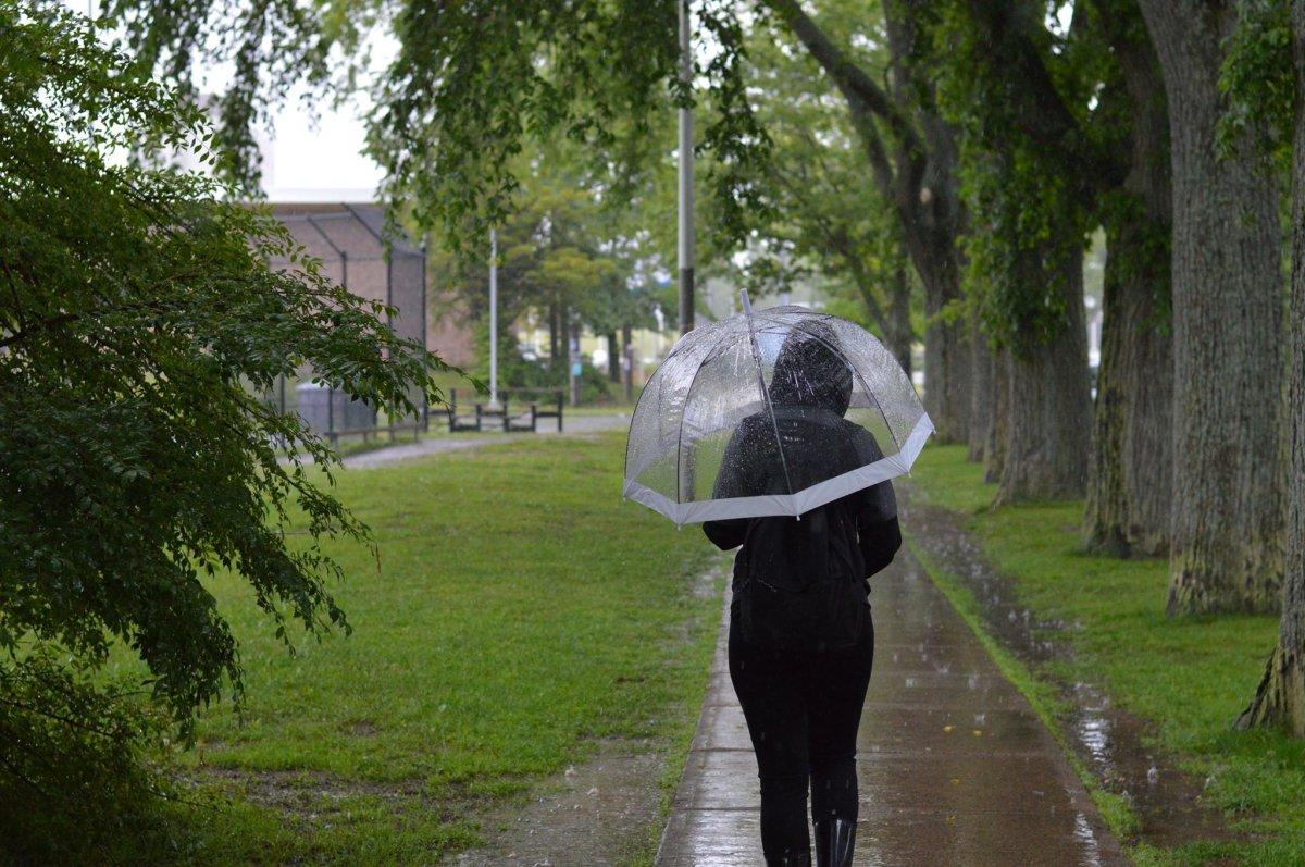 A woman walks in the rain in Halifax on June 24, 2018.