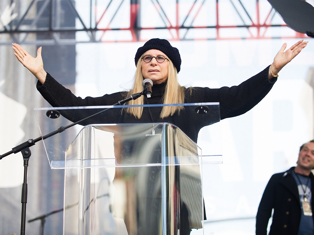 Barbra Streisand speaks onstage at the women's march in Los Angeles on January 21, 2017 in Los Angeles, California.