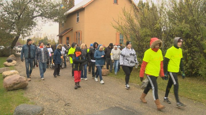 People participated in Saskatoon's Bladder Cancer Awareness Walk on Sunday morning.