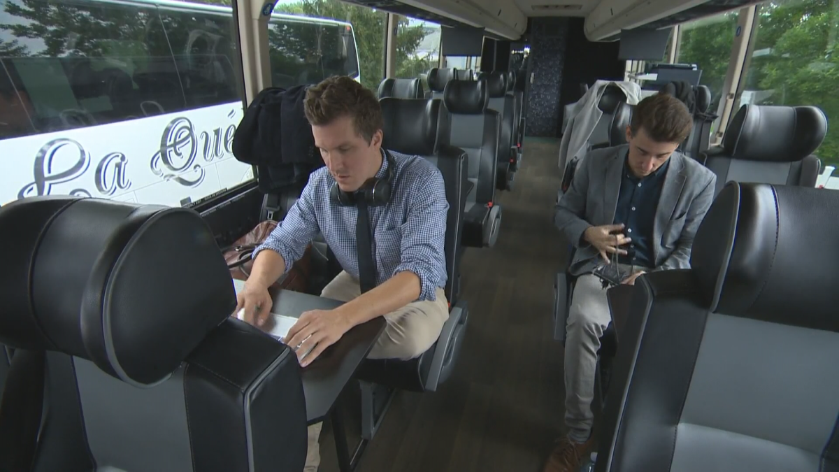 Montreal Gazette reporter Chris Curtis on the PQ's campaign bus, Weds. Sept. 5, 2018.