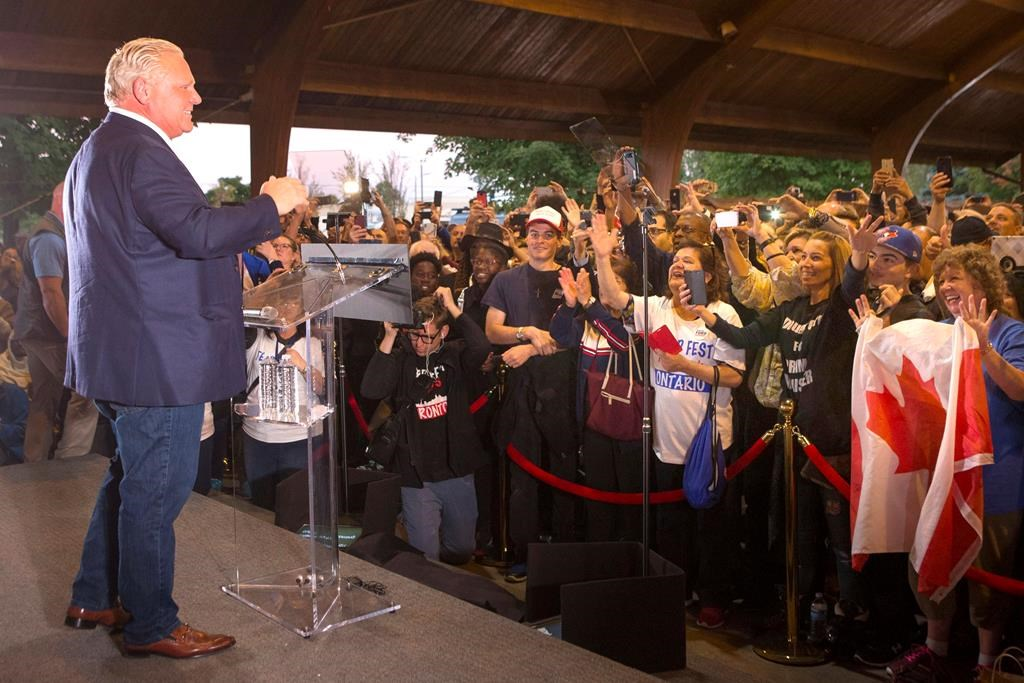 Ontario Premier Doug Ford greets the crowd as he takes the stage at Ford Fest in Vaughan , Ontario, on September 22, 2018.