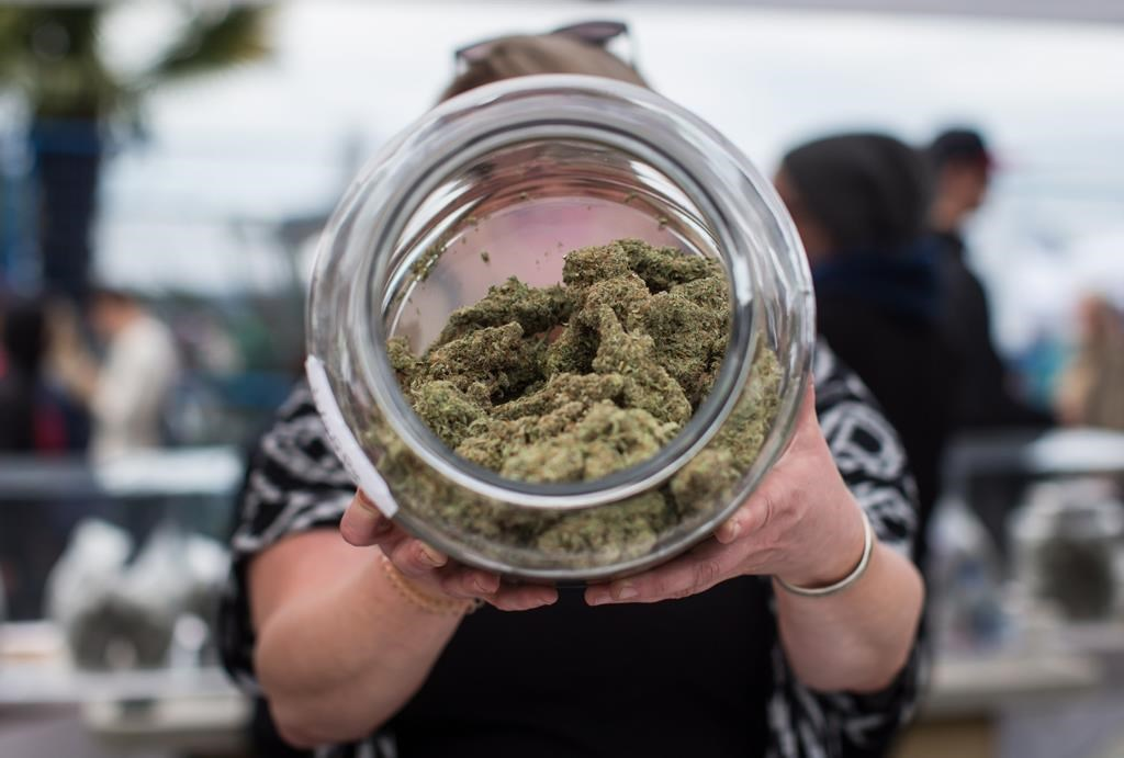 A vendor displays marijuana for sale during the 4-20 annual marijuana celebration, in Vancouver, B.C., on Friday April 20, 2018.