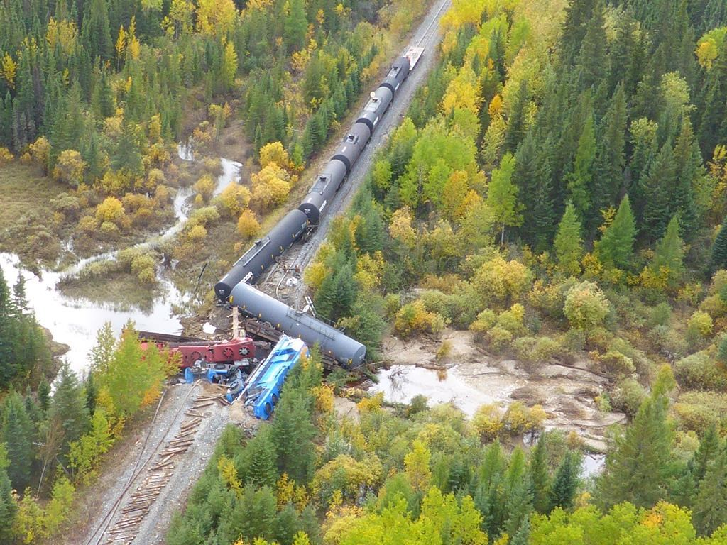 An aerial view of the train derailment near Ponton, Man. is seen on Sept. 15, 2018 in this handout photo.