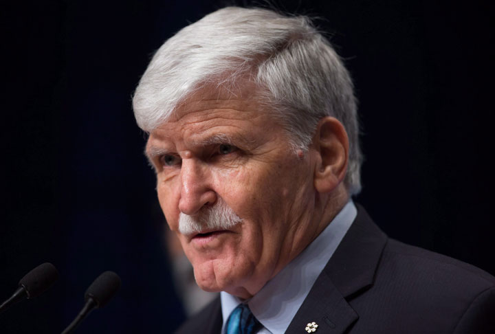 Retired lieutenant-general Roméo Dallaire speaks during a news conference at the 2017 United Nations Peacekeeping Defence Ministerial conference in Vancouver on Wednesday, Nov. 15, 2017.