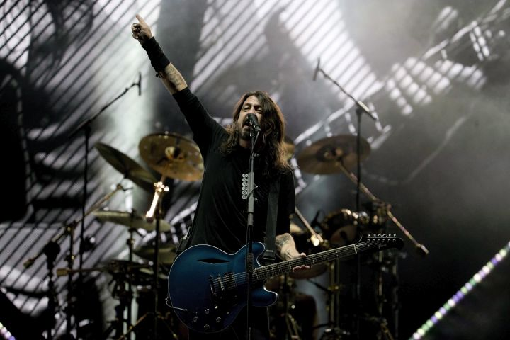 Dave Grohl from the band Foo Fighters performs during the Corona Capital music festival in Mexico City, Saturday, Nov. 18, 2017.