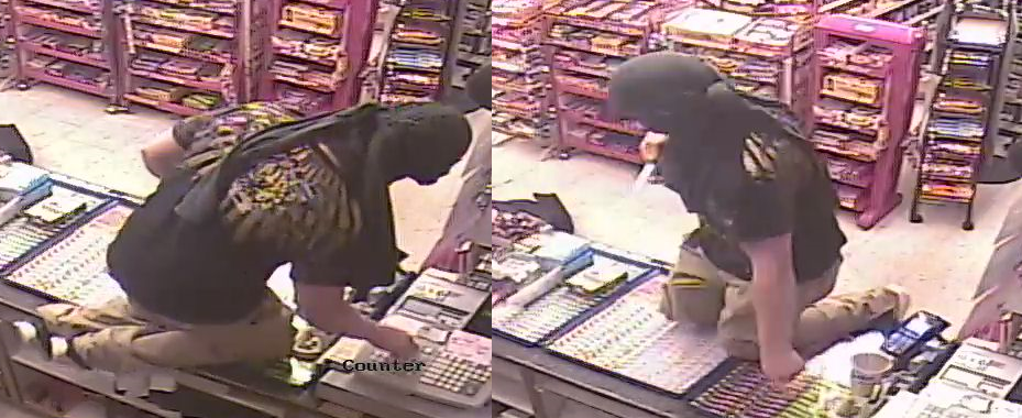 A pair of images, captured from surveillance footage, depicting the suspect.