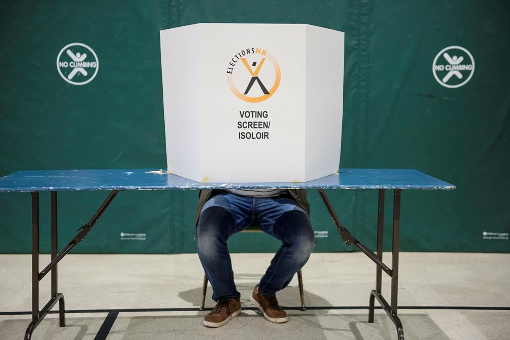 A voter sits behind a voting screen while marking their vote during the New Brunswick provincial election in Dieppe, N.B. on Monday, September 24, 2018.
