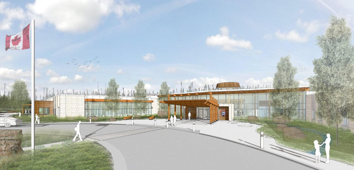 A sketch of the future Norway House Cree Nation Health Centre of Excellence.
