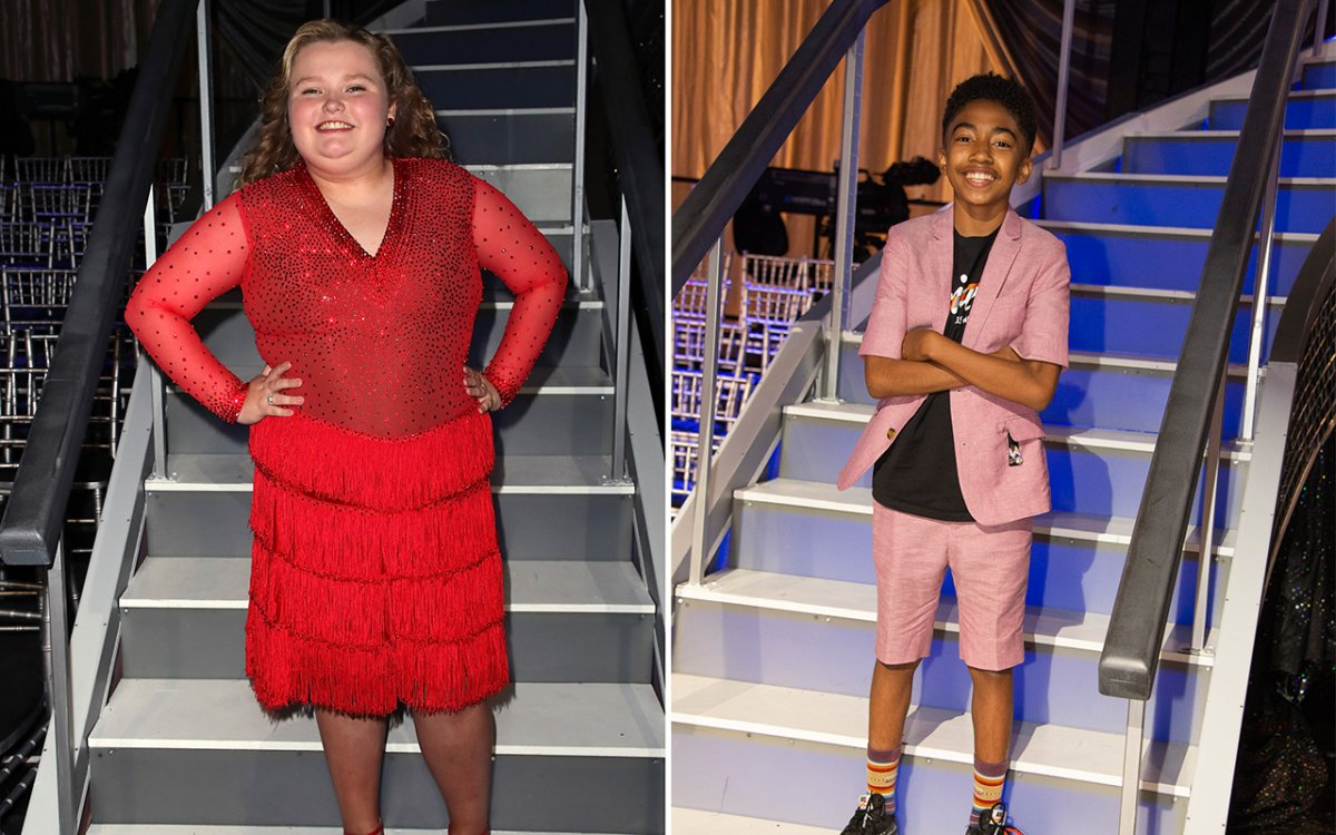 (L-R): Alana (Honey Boo Boo) Thompson and Miles Brown from 'Dancing With the Stars: Juniors' poses at 'Dancing with the Stars' Season 27 at CBS Televison City on Sept. 25, 2018 in Los Angeles, California.