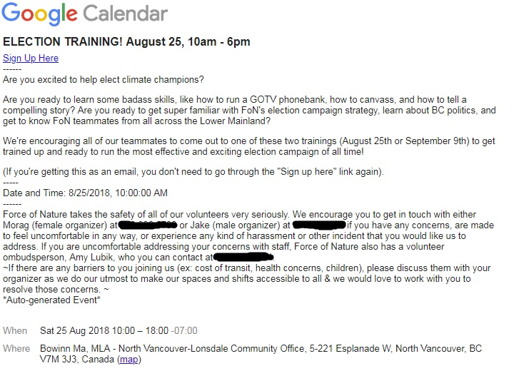 A Google invite obtained by Global News advertises a gathering at MLA Bowinn Ma's office.