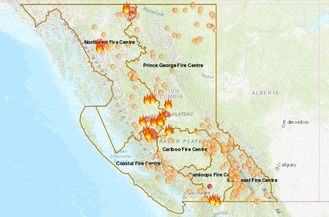 Canada Fire Map Kelowna B.C. wildfires map 2018: Current location of wildfires around the
