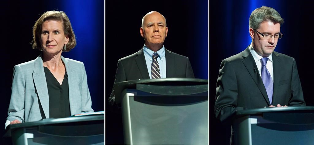 This composite image of three photographs shows New Brunswick NDP Leader Jennifer McKenzie, left to right, Green Party Leader David Coon and People's Alliance Leader Kris Austin participating in the CBC Leaders' provincial election debate, in Riverview, N.B., Wednesday, Sept. 12, 2018. THE CANADIAN PRESS/Marc Grandmaison.