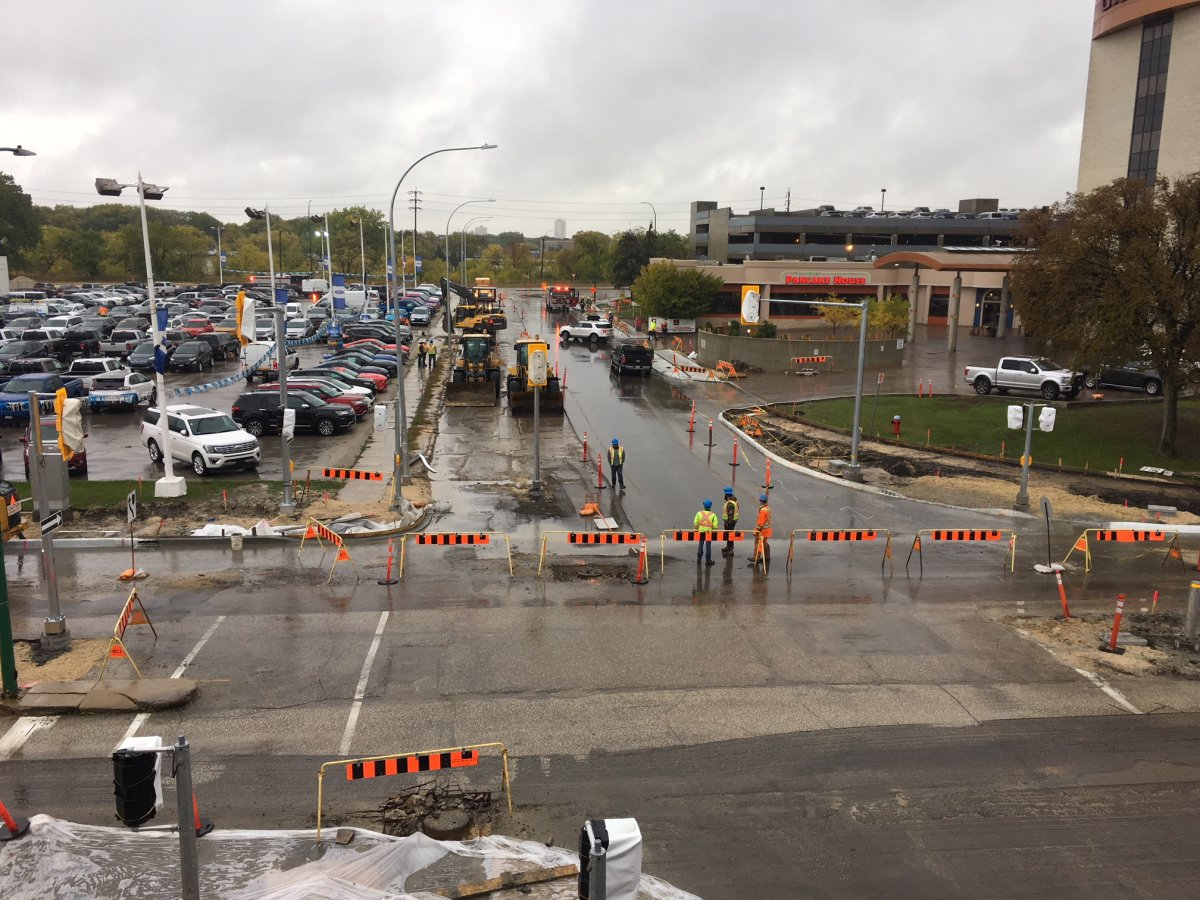 Fire crews on the scene of a Polo Park-area gas leak in fall 2018.