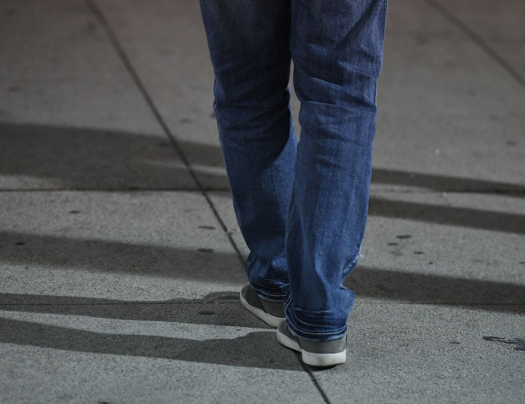 A suspect tries to walk a straight line during a sobriety test in this file image.