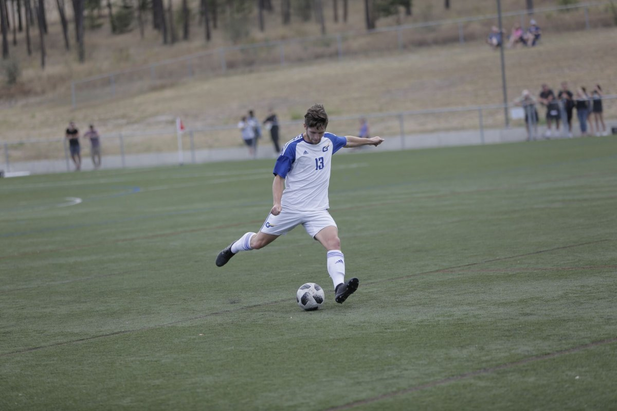 The captain of the UBC Okanagan Heat men's soccer team, Hamish Walde, scored the men's only goal on Saturday against Lethbridge.