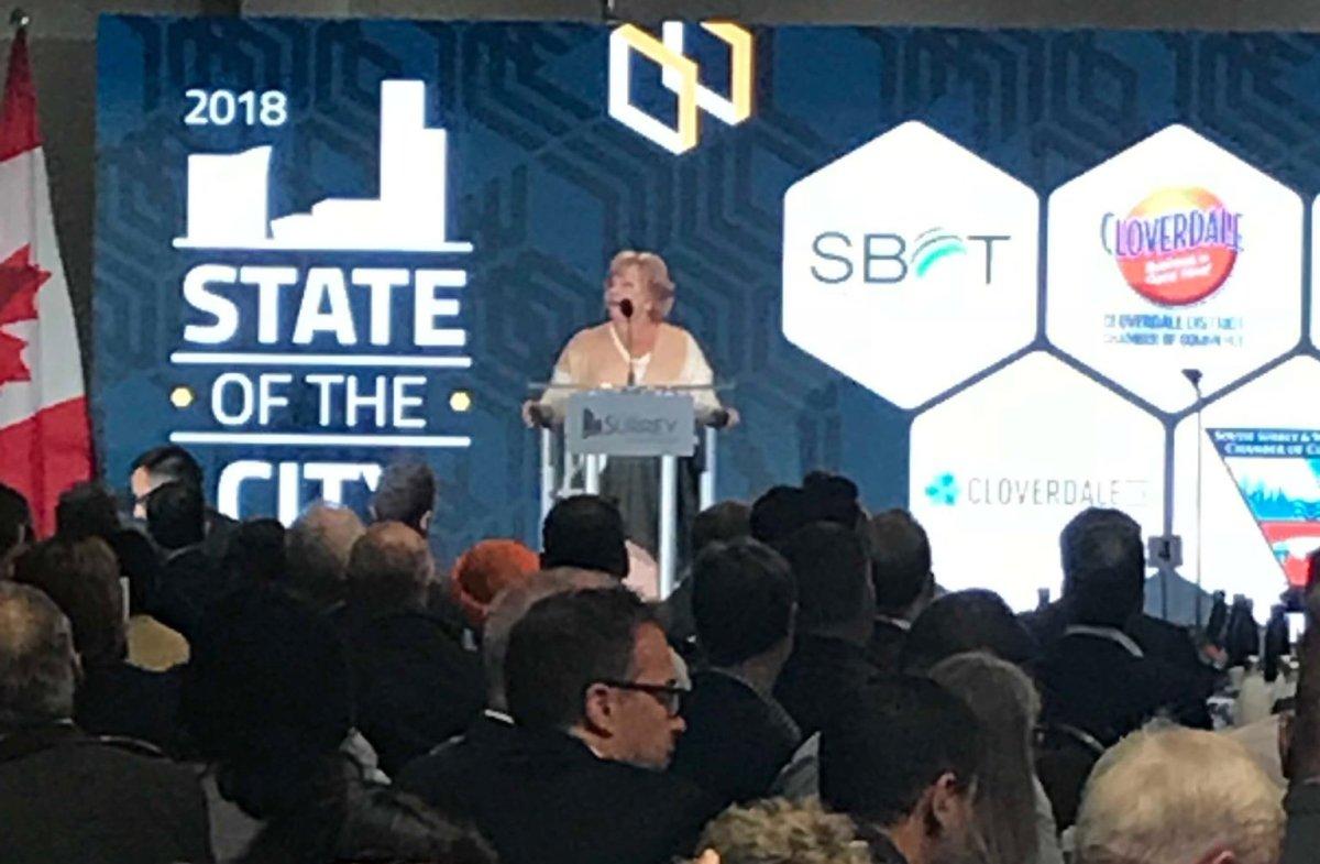 Surrey Mayor Linda Hepner delivers her final State of the City address.
