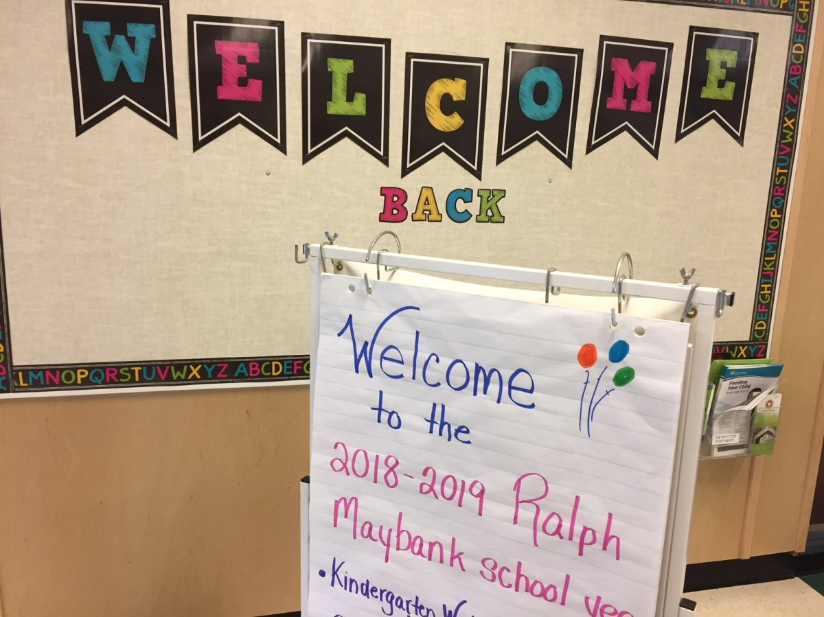 Students are welcomed back to Ralph Mayback School on Donnelly Street in Winnipeg.