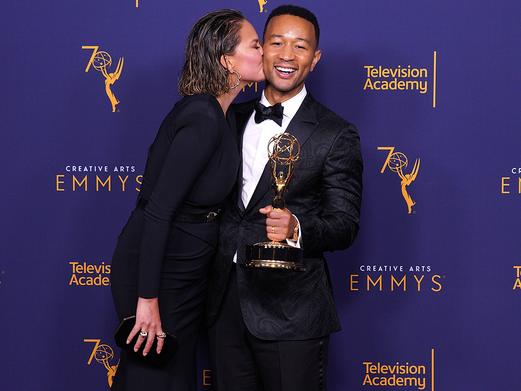 John Legend, winner of the award for outstanding variety special for 'Jesus Christ Superstar Live in Concert', and wife Chrissy Teigen during the 2018 Creative Arts Emmy Awards on Sunday.