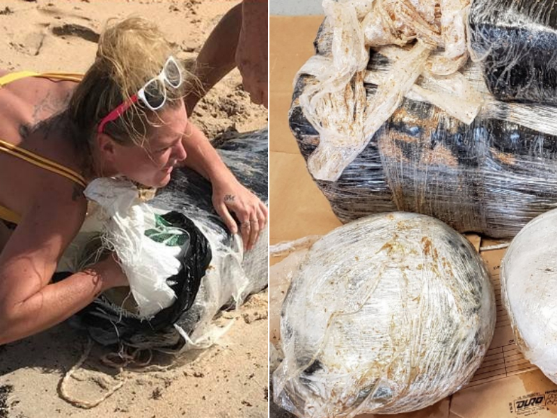 At left, a photo of a woman sought by the Flagler County Sheriff's Office in Florida in connection with marijuana that washed up on a beach. At right, a package of marijuana.