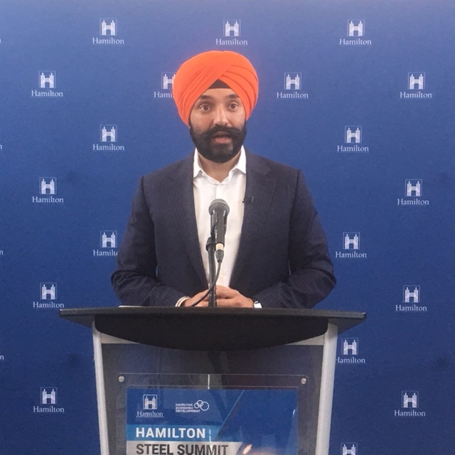 Navdeep Bains, Canada's Minister of Science, Innovation and Economic Development, addressed the Hamilton Steel Summit on Friday morning.
