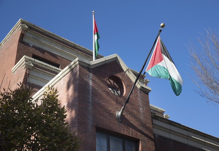 Palestinian flags fly at the office of the Palestine Liberation Organization (PLO) in Washington, DC, in November 2017. According to media reports, the Trump administration has ordered it to close.