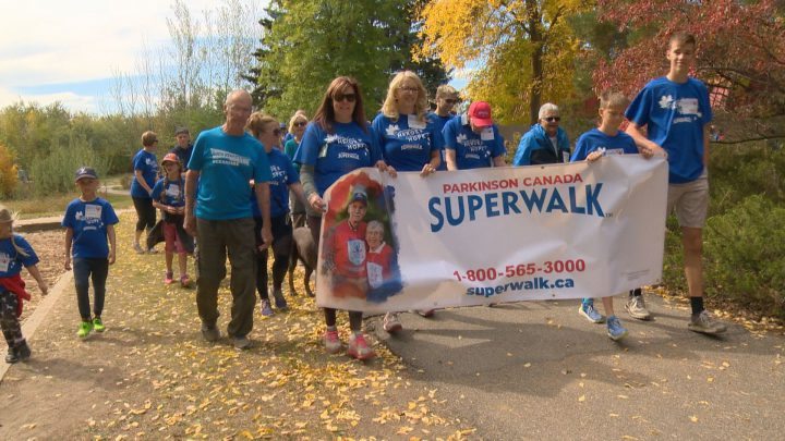 Hundreds gathered at Meewasin Park in Saskatoon on Sunday for the annual Parkinson SuperWalk.