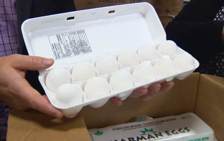 Saskatchewan egg farmers delivered a donation of 6,000 dozen eggs to the Saskatoon Food Bank and Learning Centre on Monday.