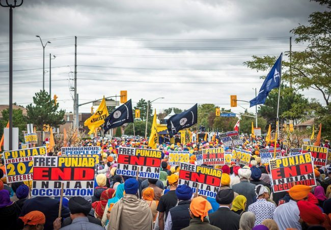 Sikhs attend a rally calling for a referendum on the creation of a Sikh state called Khalistan, Sept. 9, 2018, in Brampton, Ont.