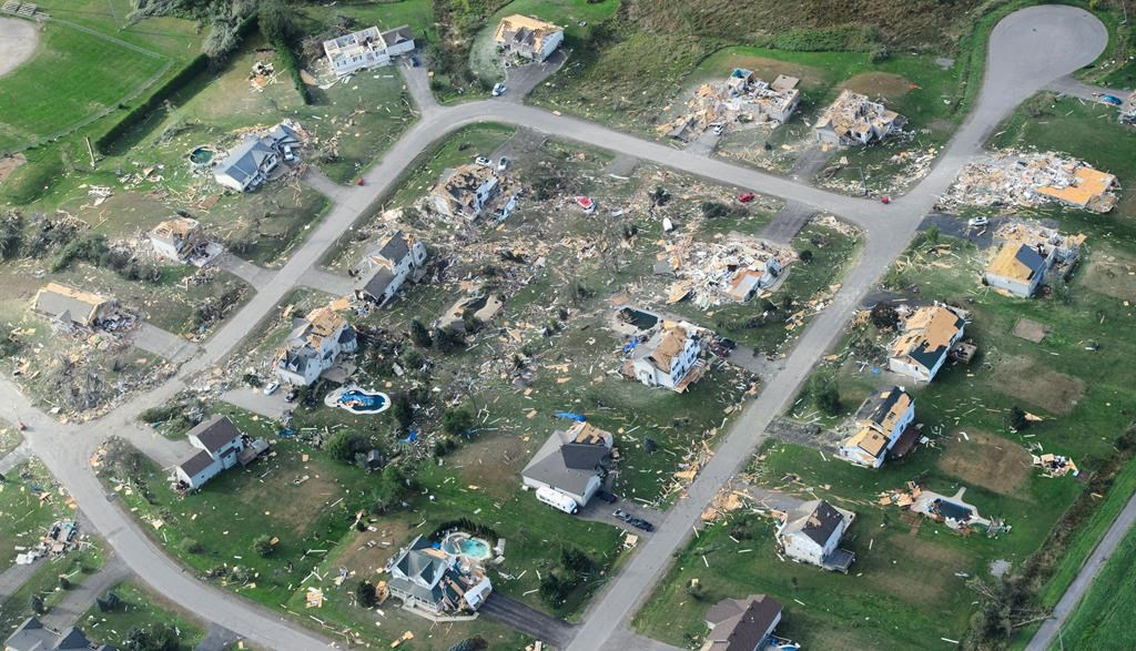 Damage from a tornado is seen in Dunrobin, Ont., west of Ottawa on Saturday, Sept. 22, 2018.