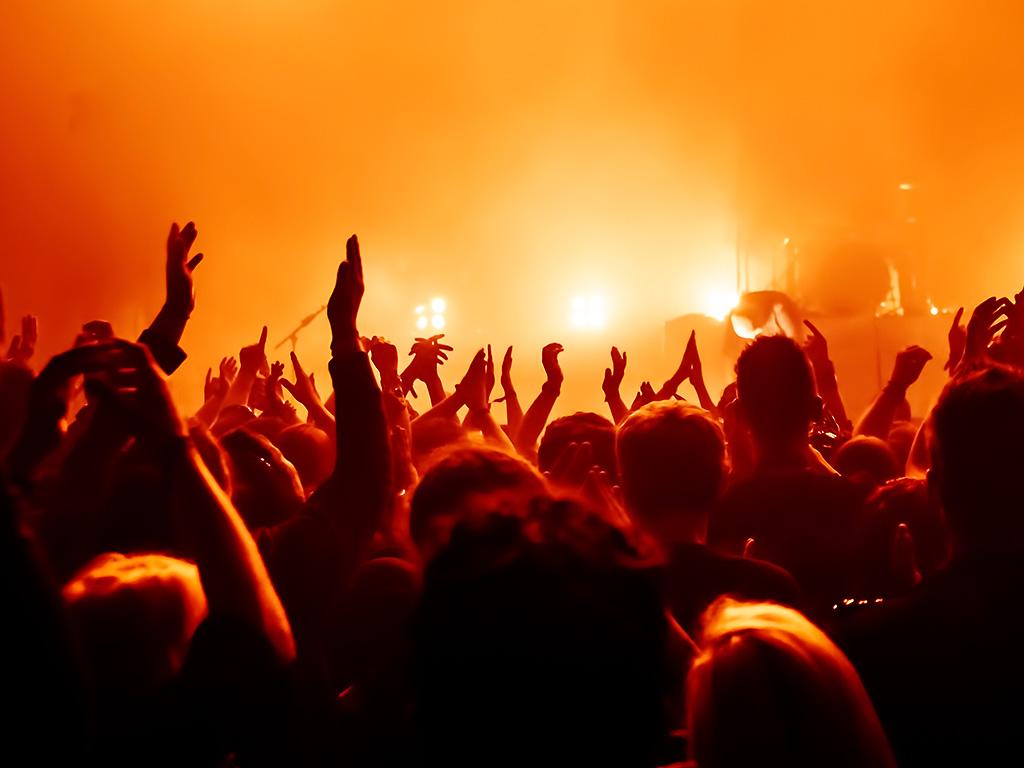 A crowd applauds at a music concert.