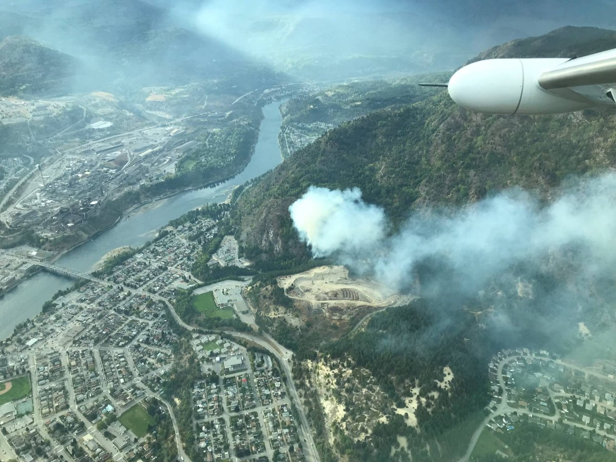 The McQuarrie Creek fire, burning just north of the hospital in Trail, B.C. on Sept. 11, 2018.