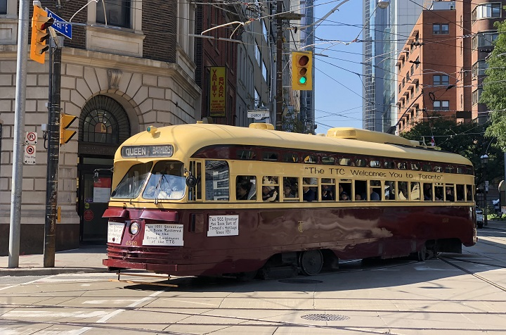One of the TTC's two vintage PCC streetcars is seen at the intersection of Church and Queen streets Sunday.