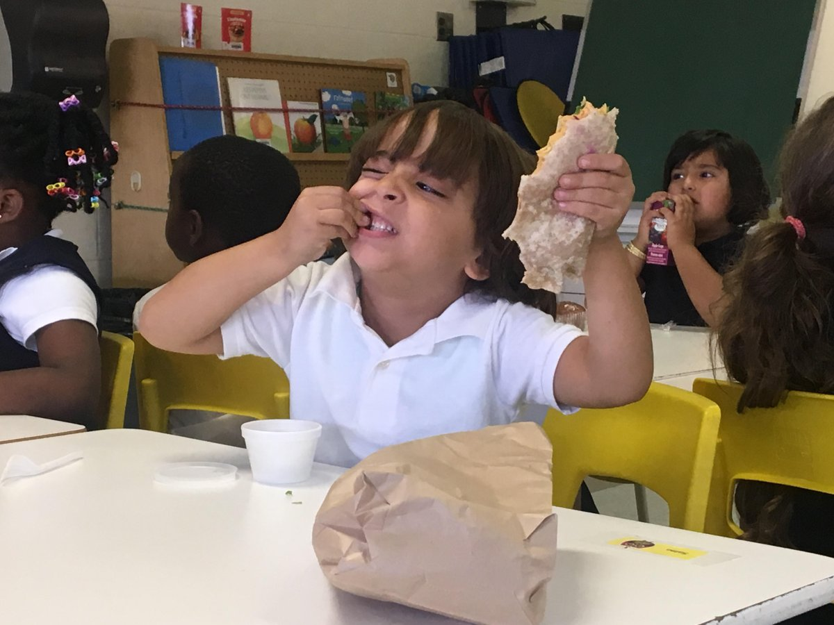 A young student enjoys his free lunch at Ecole Alice Parizeau in Ahuntsic Cartierville on Sept 20, 2018.