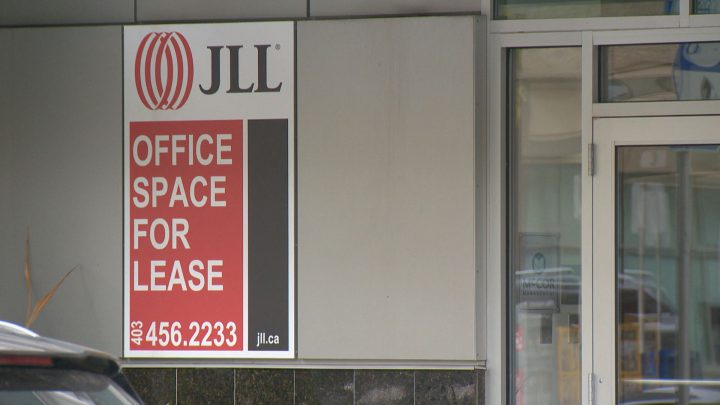 One of a number of for lease signs in Calgary's downtown core.