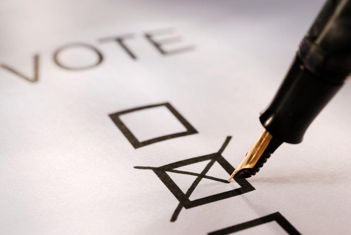 Voting slip putting a cross in a box.