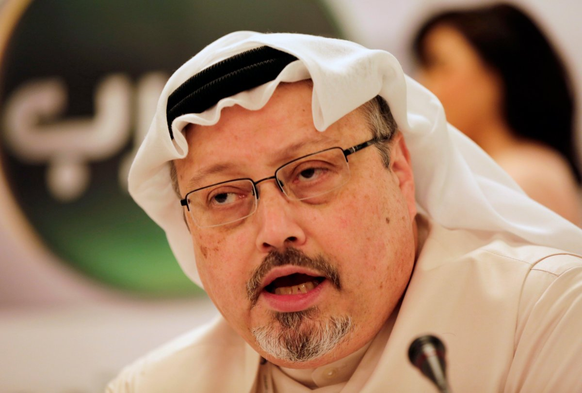 FILE - Jamal Khashoggi, general manager of a new Arabic news channel, speaks during a press conference in Manama, Bahrain, Monday, Dec. 15, 2014.